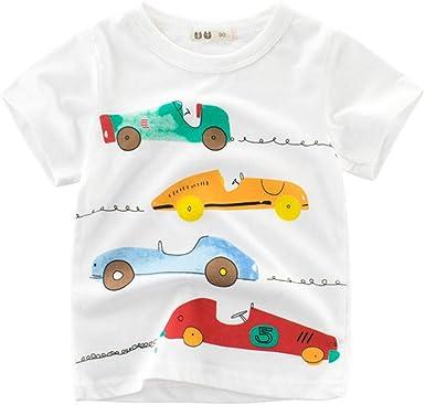 27 KIDS Camiseta Infantil De Algodón para Niños De Dibujos Animados para Niños Y Niñas Camisa De Manga Corta con Cuello Redondo, Camisa De Manga Corta para Niños, Camiseta Blanca, 120: Amazon.es: