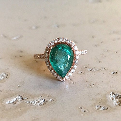 Halo Emerald Engagement Ring- Rose Gold Emerald Engagement Ring- Pear Shape Emerald Engagement Ring- Unique Emerald Promise Ring