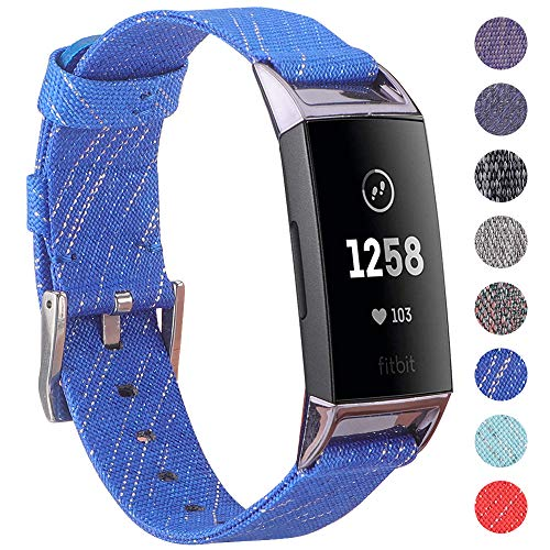 EZCO Compatible Fitbit Charge 3 Bands, Woven Fabric Breathable Watch Strap Quick Release Replacement Wristband Accessories Man Woven Compatible Charge 3 / Charge 3 SE Fitness Smart Watch