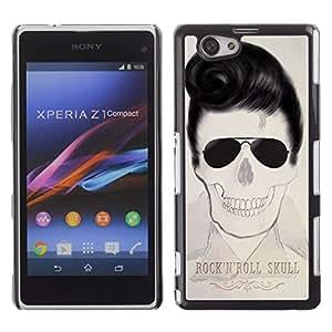 GOODTHINGS Funda Imagen Diseño Carcasa Tapa Trasera Negro Cover Skin Case para Sony Xperia Z1 Compact D5503 - Elvis cráneo rollo de la música rock fresco de la estrella