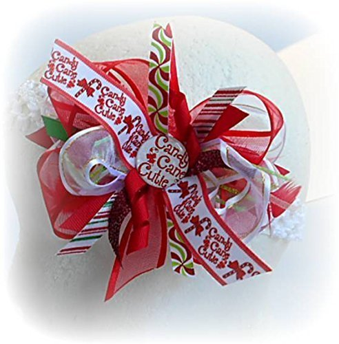 CHRISTMAS CANDY CANE CUTIE HAIR BOW INFANT TODDLER LITTLE GIRLS HAIRBOWS RED GREEN WHITE