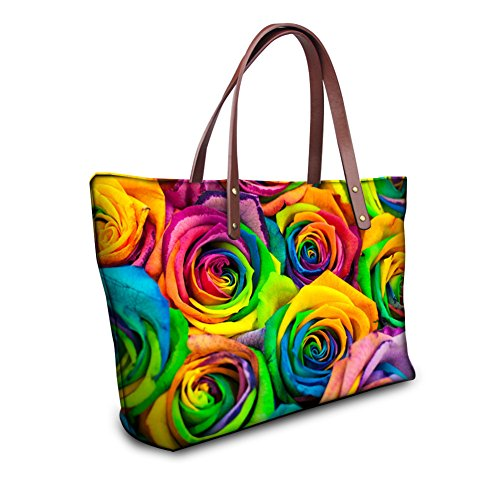 Top Structured Satchel Showudesigns 1 Handbag Color Bag Handle Flowers Big Colorful Laptop Tote qxqwYOZI