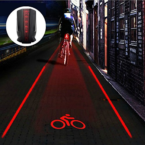Bike Tail Light Ultra Bright Bicycle Laser Rear Light - Cycling Projector Safety Warning Lamp- Water Resistant- Back Flashlight for Mountain Bike- 2 Laser 5 LEDs (Light Laser Safety)