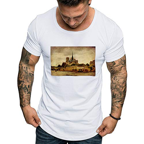 Mens T Shirts,MILIMIEYIK Graphic Men 3D Printing Short Sleeve Shirts Casual Graphic T-Shirt Tank Tops Beach Tees Blouse White