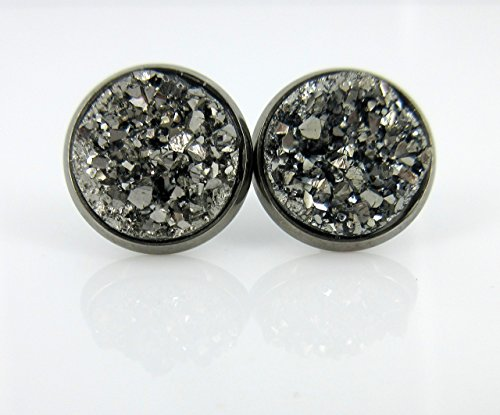 Hematite-tone Gunmetal Gray Faux Druzy Stone Stud Earrings 12mm (Stud Earrings Hematite)