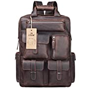Amazon Lightning Deal 54% claimed: S-ZONE Vintage Crazy Horse Genuine Leather Backpack Multi Pockets Travel Sports bag (brown)