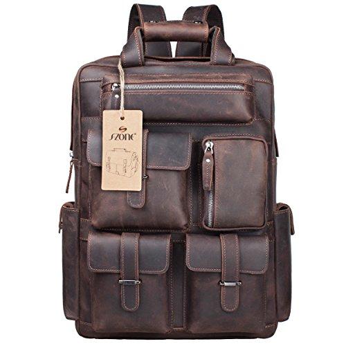 S-ZONE Herren Echtes Leder Handgefertigte 17-Inch Laptop Rucksack mit Mehreren Taschen Reisesporttasche