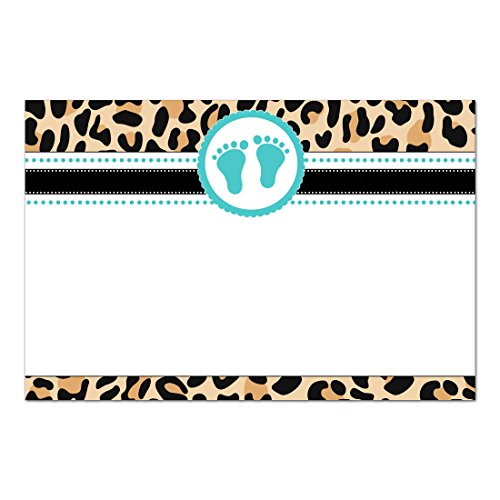(30 Blank Cards Invitations Thank You Cards Teal Baby Shower Leopard Blue Footprints + 30 White)