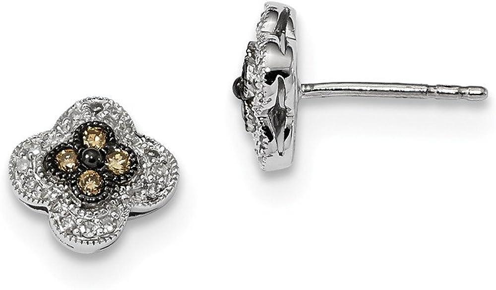 Pendientes de tuerca de plata de ley 925 con diamantes de champán pequeños de 0,25 ct