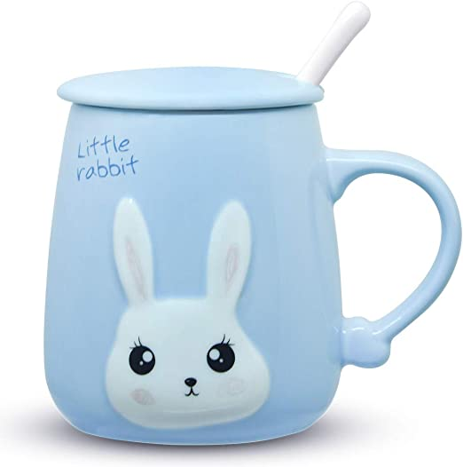 Holds 14 Ounces Cute Blue Bunny Rabit Coffee Mug Made By TAG New.