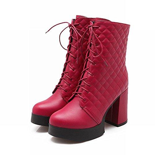 Latasa Mode Féminine Plate-forme Haut Talon Haut Talon Bottes Courtes Rouge