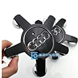 Automelody 4pcs A Set Of Wheel Center Caps Hubcap For Audi A3 A4 A5 A6 A7 A8 Allroad Q3 Q5 Quattro R8 S3 S4 S5 S6 S7 S8 SQ5 TT (black)