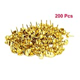 Sydien 200 Pcs Upholstery Nail Heads Thumb Tack Push Pins Decorative Nails For Furniture Gold Tone(16mmx11mm)