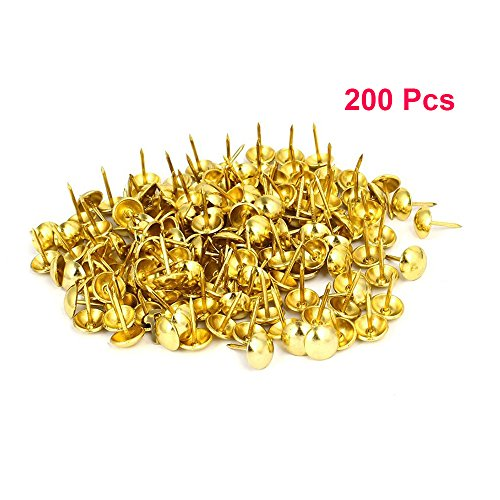Sydien 200 Pcs Upholstery Nail Heads Thumb Tack Push Pins Decorative Nails For Furniture Gold Tone(16mmx11mm) by Sydien