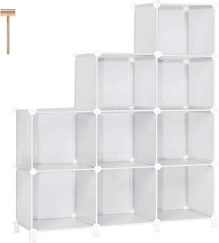 TomCare Cube Storage 9-Cube Bookshelf Storage Shelves Cube Organizer Closet Organizer Shelving Plastic Bookcase Book Shelf DIY Clothes Storage Organizers Shelves