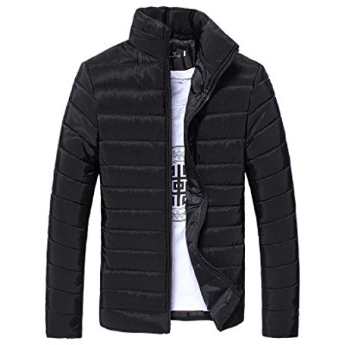 Midweight Varsity Jacket (GREFER Clearance New Men Cotton Stand Zipper Warm Winter Thick Coat Jacket (M, Black))