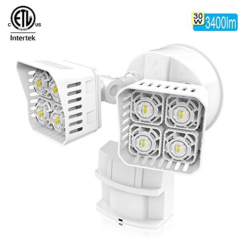 SANSI LED Security Motion Sensor Outdoor Lights, 30W (250W Incandescent Equivalent) 3400lm, 5000K Daylight, Waterproof Flood Light, ETL Listed, White