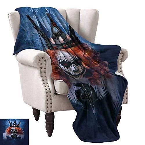 Lightweight Blanket,Queen of Death Scary Body Art Halloween Evil Face Bizarre Make Up Zombie 80