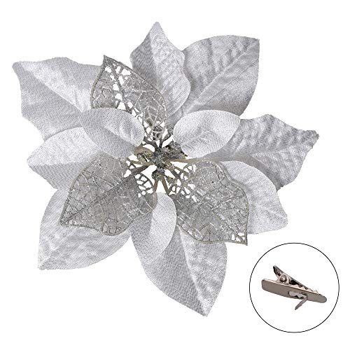 15 PCS Christmas Glitter Artificial Poinsettia Flowers Artificial Wedding Flowers Decorations Xmas Tree Ornaments with…