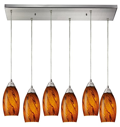 Galaxy 6 Light Pendant in Satin Nickel and Brown