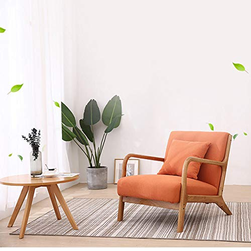 JOYBASE Lounge Arm Chair, Mid Century Modern Accent Chair, Wood Frame Armchair for Living Room, Bedroom (Orange)