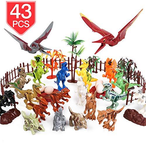 (PROLOSO Plastic Dinosaur Building Blocks with Jurassic Park Scenes Mini Dinosaur Action Figures Dinos Playset (20+23 Pcs))