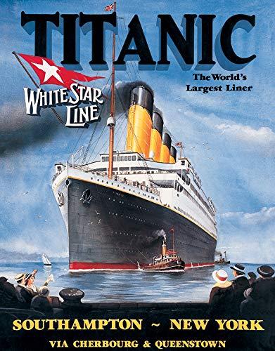 (Desperate Enterprises Titanic - White Star Tin Sign, 12.5