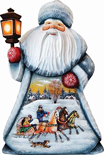 G. Debrekht Carved Wood and Hand-Painted Santa Troika, 11