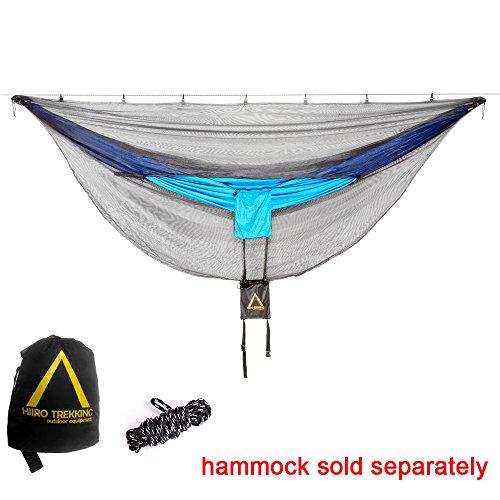 Polyester Net Hammock Swing (Camping Hammock Bug Net (Horizontal Zipper) - 10 Feet Long Mosquito Net | Polyester Mesh, Dual Side Zipper & 360 Protection | Perfect for All Camping Hammocks)