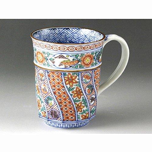Kiyomizu-kyo yaki. Akaeneri komon Mug with wooden box. Porcelain. kymz-UCA631