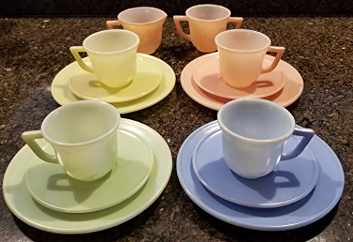 Hazel Atlas Pastel Color Childs Set Creamer & Sugar Cup Saucer Plate Vintage USA