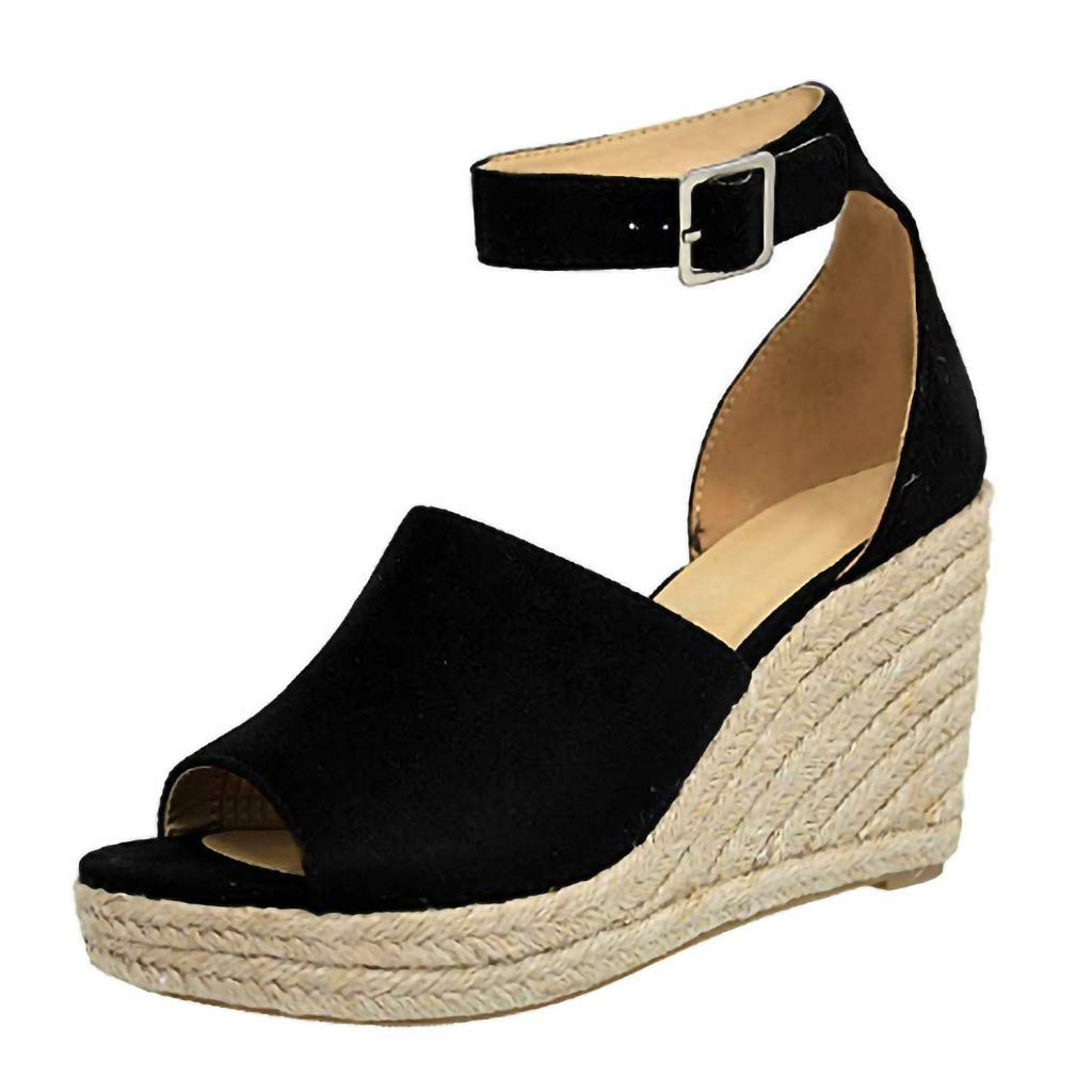 AHAYAKU Womens Wedges Sandals Buckle Ankle Strap Sandals Fish Mouth Lady Breathable Shoe Black