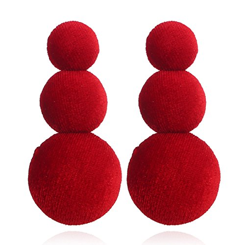 WKAIJCJ Ornament Fashion 0 Round Wild 3 5cm Simple Long Creative 6 Temperament Flannelette Earrings Woman Red rAqr5