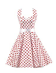 Kisstyle Women Halter Style Vintage Polka Dots Cocktail Dress
