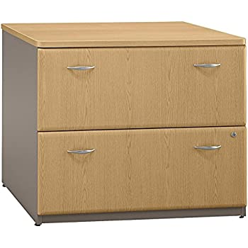 Bush Furniture Series A 2 Drawer Lateral Wood File Storage Cabinet In Light  Oak