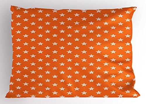 Starfish Pillow Sham by Ambesonne, Doodle Style Aquarium Animals Pattern on Abstract Orange Background Exotic Fauna, Decorative Standard Queen Size Printed Pillowcase, 30 X 20 Inches, Orange (Fish Sham)