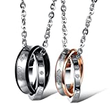 INBLUE Men,Women's 2 PCS Stainless Steel Pendant Necklace CZ Silver Gold Tone Black Ring Love Couple -with 20 and 23 Inch Chain