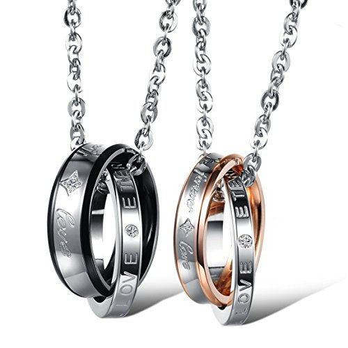 INBLUE Men,Women's 2 PCS Stainless Steel Pendant Necklace CZ Silver Gold Tone Black Ring Love Couple -with 20 and 23 Inch Chain by INBLUE (Image #1)