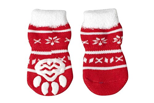 Pesco Pack of 4 Pieces New Fashion Christmas Party Dog Socks Non-slip Warm Knitted Puppy Socks (Plush Snowflake, Small)]()
