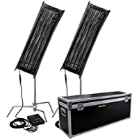2Kit x 300w 4ft 4bank Fluorescent Light +Ballast as kinoflo Tubes with C-stand with Fly case