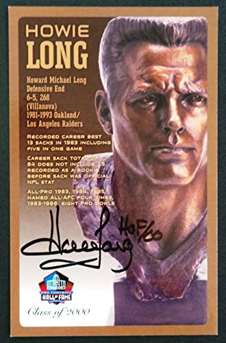 Pro Football Hall of Fame Howie Long Signed NFL Bronze Bust Set Autographed Card with COA (Limited Edition #95 of 150)