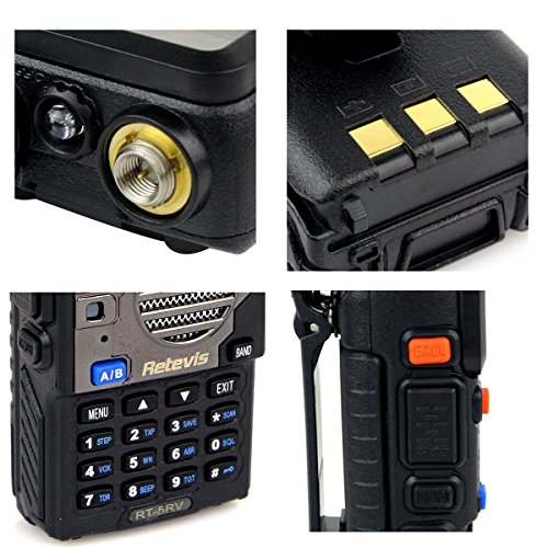 Retevis RT-5RV Walkie Talkies 5W 128CH Dual Band VHF/UHF 136-174/400-520 MHz VOX CTCSS/DCS FM Ham Radio with Earpiece (10 Pack) and Speaker Mic (10 Pack) by Retevis (Image #6)'