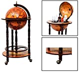 Wood Globe Wine Bar Stand 16th Century Italian Rack Liquor Bottle Shelf (JG33001R)