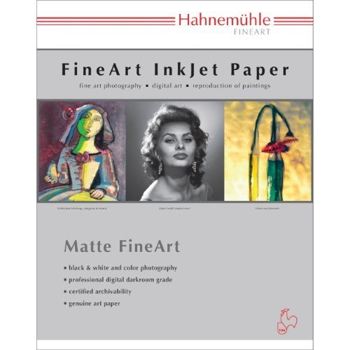 (Hahnemuhle Matte Photo Rag, 100 % Rag, Smooth, Bright White Inkjet Paper, 19 mil., 308 g/mA, 8.5x11
