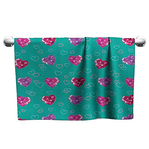 - DUCKIL Bathroom Hand Towels Teal Decor Crystal Hearts Gemstone Figures Love Valentines Day Celebrating Romantic Print Fancy Bath Sheet 39 x 20 inch Red Fuchsia Teal