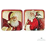 Set of 2 Nostalgic Santa Clause Melamine Christmas Serving Plates