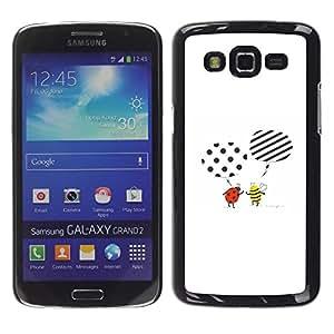 TopCaseStore / la caja del caucho duro de la cubierta de protección de la piel - Cute Cartoon Bee Ladybug White - Samsung Galaxy Grand 2 SM-G7102 SM-G7105