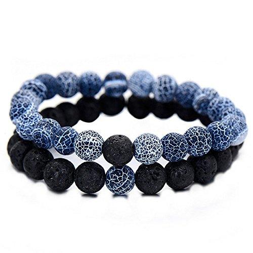 Soul Statement Lava Beads Friendship Bracelets: Beaded Unisex Bracelet Set (2 Pack Dark Blue Black) for $<!--$15.27-->