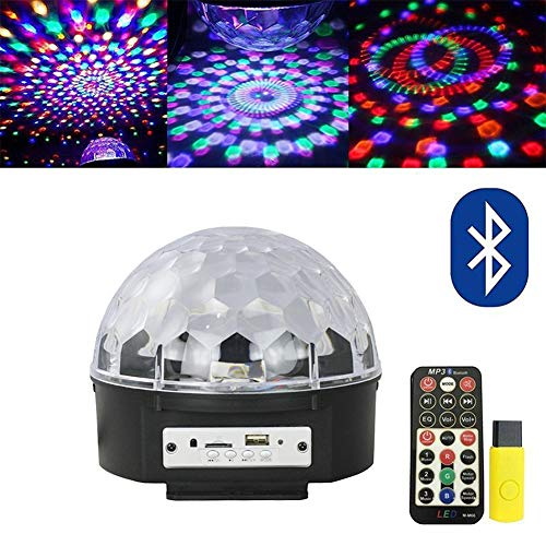 AOKARLIA Portable Party Speaker Lights, Crystal Ball Disco Bluetooth/LED Stage Lights Support FM TF Card -