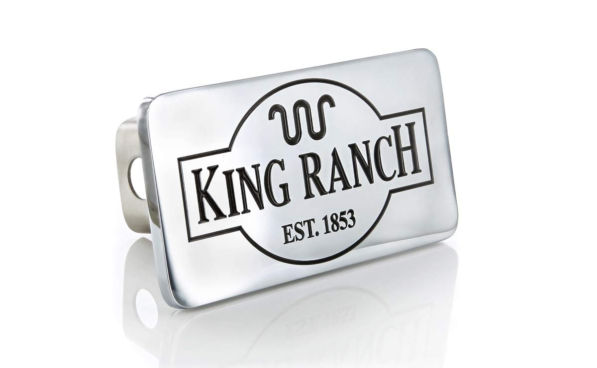 King Ranch est. 1853 Wordmark Chrome Plated Trailer Hitch Cover Plug (2 inch Post) by King Ranch